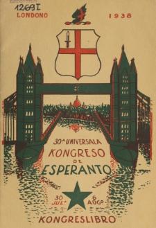 Kongresa Libro : 30-a Universala Kongreso de Esperanto : Londono 30a de Julio-6a de Aŭgusto 1938.