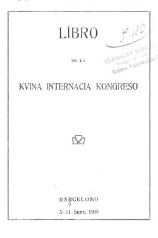 Libro de la Kvina Internacia Kongreso.