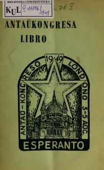 Antaŭkongreso de Esperanto : Londono 3a gis 5a Aŭgusto 1949.