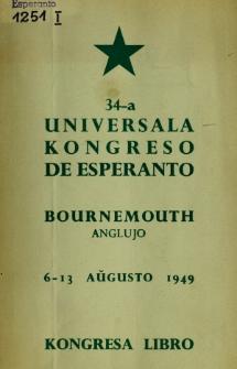 Kongresa Libro : 34a Universala Kongreso de Esperanto, 6-13 Aŭgusto 1949.