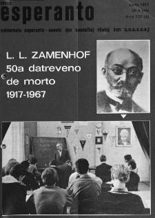 Esperanto : revuo internacia : oficiala organo de Universala Esperanto Asocio. Jaro 60, n. 737 (1967)