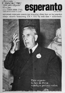 Esperanto : revuo internacia : oficiala organo de Universala Esperanto Asocio. Jaro 82, n. 1003/1004 (1989)