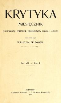 Krytyka : miesięcznik społeczny, naukowy i literacki. R. 7, z. 1 (1905)