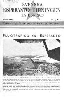 Lâ Espero : officiellt organ för Svenska Esperanto-Förbundet (S.E.F.) : organ för Esperanto-rörelsen i Sverige. Arg. 36, Nr 1 (1948)