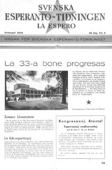 Lâ Espero : officiellt organ för Svenska Esperanto-Förbundet (S.E.F.) : organ för Esperanto-rörelsen i Sverige. Arg. 36, Nr 2 (1948)