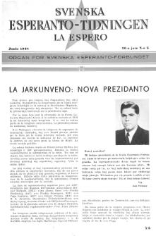 Lâ Espero : officiellt organ för Svenska Esperanto-Förbundet (S.E.F.) : organ för Esperanto-rörelsen i Sverige. Arg. 36, Nr 6 (1948)