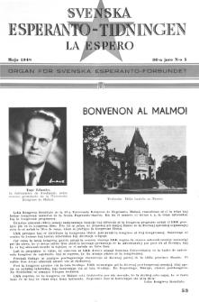 Lâ Espero : officiellt organ för Svenska Esperanto-Förbundet (S.E.F.) : organ för Esperanto-rörelsen i Sverige. Arg. 36, Nr 5 (1948)
