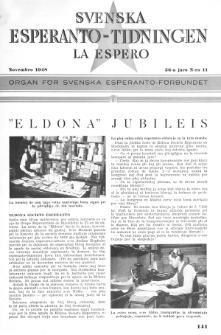 Lâ Espero : officiellt organ för Svenska Esperanto-Förbundet (S.E.F.) : organ för Esperanto-rörelsen i Sverige. Arg. 36, Nr 11 (1948)