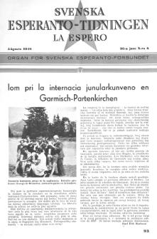 Lâ Espero : officiellt organ för Svenska Esperanto-Förbundet (S.E.F.) : organ för Esperanto-rörelsen i Sverige. Arg. 36, Nr 8 (1948)
