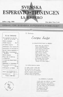 Lâ Espero : officiellt organ för Svenska Esperanto-Förbundet (S.E.F.) : organ för Esperanto-rörelsen i Sverige. Jaro 44, Nr 7/8 (1956)