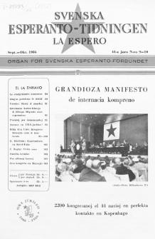 Lâ Espero : officiellt organ för Svenska Esperanto-Förbundet (S.E.F.) : organ för Esperanto-rörelsen i Sverige. Jaro 44, Nr 9/10 (1956)