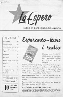 Lâ Espero : officiellt organ för Svenska Esperanto-Förbundet (S.E.F.) : organ för Esperanto-rörelsen i Sverige. Jaro 45, Nr 10 (1957)