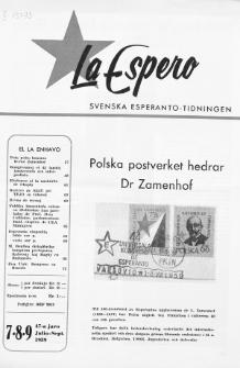 Lâ Espero : officiellt organ för Svenska Esperanto-Förbundet (S.E.F.) : organ för Esperanto-rörelsen i Sverige. Jaro 47, Nr 7/8/9 (1959)