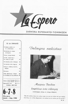 Lâ Espero : officiellt organ för Svenska Esperanto-Förbundet (S.E.F.) : organ för Esperanto-rörelsen i Sverige. Jaro 46, Nr 6/7/8 (1958)