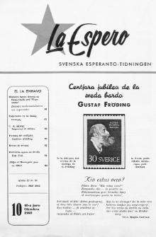 Lâ Espero : officiellt organ för Svenska Esperanto-Förbundet (S.E.F.) : organ för Esperanto-rörelsen i Sverige. Jaro 48, Nr 10 (1960)