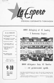 Lâ Espero : officiellt organ för Svenska Esperanto-Förbundet (S.E.F.) : organ för Esperanto-rörelsen i Sverige. Jaro 54, Nr 9/10 (1966)