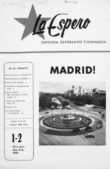 Lâ Espero : officiellt organ för Svenska Esperanto-Förbundet (S.E.F.) : organ för Esperanto-rörelsen i Sverige. Jaro 56, Nr 1/2 (1968)