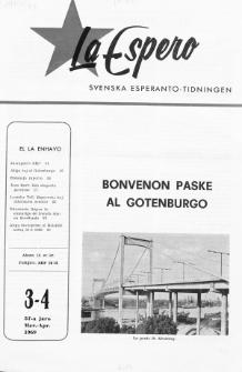 Lâ Espero : officiellt organ för Svenska Esperanto-Förbundet (S.E.F.) : organ för Esperanto-rörelsen i Sverige. Jaro 57, Nr 3/4 (1969)