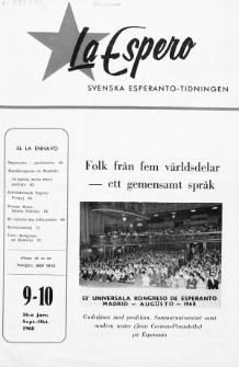 Lâ Espero : officiellt organ för Svenska Esperanto-Förbundet (S.E.F.) : organ för Esperanto-rörelsen i Sverige. Jaro 56, Nr 9/10 (1968)
