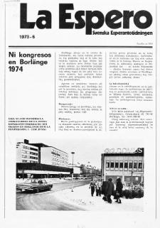 Lâ Espero : officiellt organ för Svenska Esperanto-Förbundet (S.E.F.) : organ för Esperanto-rörelsen i Sverige. Jaro 61, Nr 6 (1973)