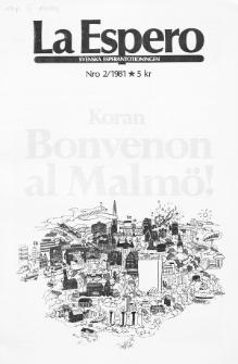 Lâ Espero : officiellt organ för Svenska Esperanto-Förbundet (S.E.F.) : organ för Esperanto-rörelsen i Sverige. Jarkolekto 69a, Nr 2 (1981)