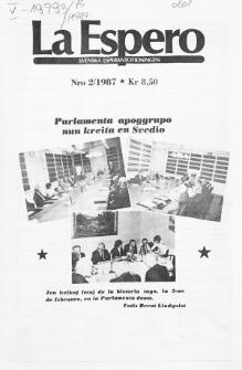 Lâ Espero : officiellt organ för Svenska Esperanto-Förbundet (S.E.F.) : organ för Esperanto-rörelsen i Sverige. Jarkolekto 75a, Nr 2 (1987)