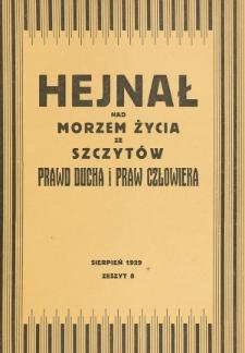 Hejnał nad Morzem Życia ze Szczytów Prawd Ducha i Praw Człowieka. Z. 8 (1929)
