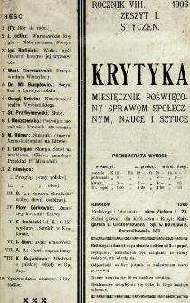 Krytyka : miesięcznik społeczny, naukowy i literacki. R. 8, z. 1 (1906)