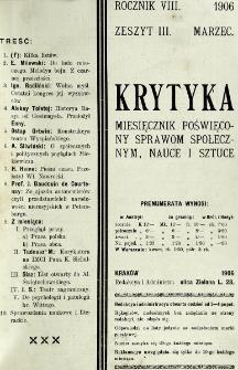 Krytyka : miesięcznik społeczny, naukowy i literacki. R. 8, z. 3 (1906)