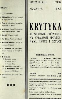 Krytyka : miesięcznik społeczny, naukowy i literacki. R. 8, z. 5 (1906)