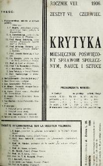 Krytyka : miesięcznik społeczny, naukowy i literacki. R. 8, z. 6 (1906)