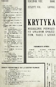 Krytyka : miesięcznik społeczny, naukowy i literacki. R. 8, z. 7 (1906)