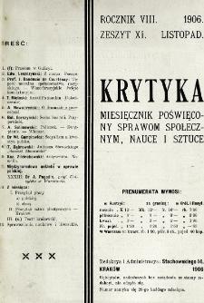 Krytyka : miesięcznik społeczny, naukowy i literacki. R. 8, z. 11 (1906)
