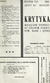 Krytyka : miesięcznik społeczny, naukowy i literacki. R. 8, z. 12 (1906)