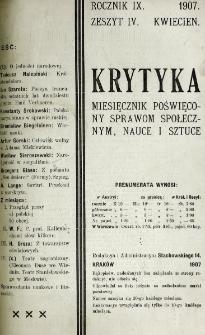 Krytyka : miesięcznik społeczny, naukowy i literacki. R. 9, z. 4 (1907)