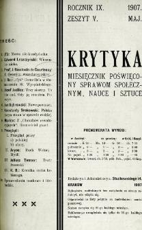 Krytyka : miesięcznik społeczny, naukowy i literacki. R. 9, z. 5 (1907)