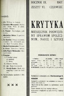 Krytyka : miesięcznik społeczny, naukowy i literacki. R. 9, z. 6 (1907)