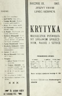 Krytyka : miesięcznik społeczny, naukowy i literacki. R. 9, z. 7/8 (1907)