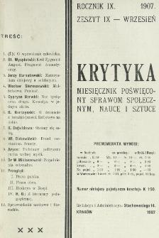 Krytyka : miesięcznik społeczny, naukowy i literacki. R. 9, z. 9 (1907)