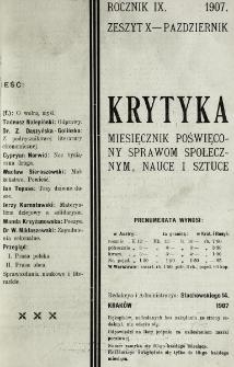 Krytyka : miesięcznik społeczny, naukowy i literacki. R. 9, z. 10 (1907)