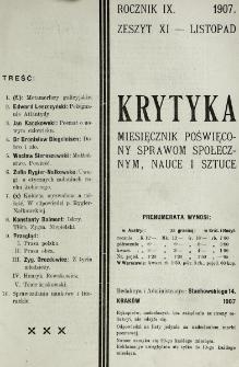 Krytyka : miesięcznik społeczny, naukowy i literacki. R. 9, z. 11 (1907)