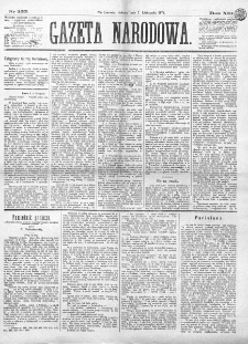Gazeta Narodowa. R. 13 (1874), nr 255 (7 listopada)
