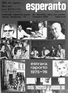 Esperanto : revuo internacia : oficiala organo de Universala Esperanto Asocio. Jaro 69, n. n. 847/848 (1976)
