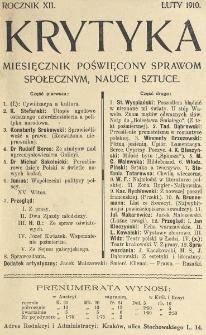 Krytyka : miesięcznik społeczny, naukowy i literacki. R. 12, Cz. 1, z. 2 (1910)