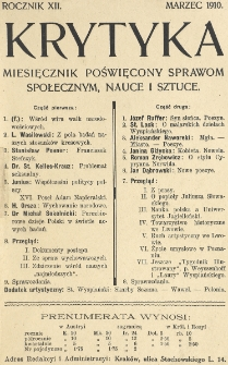 Krytyka : miesięcznik społeczny, naukowy i literacki. R. 12, Cz. 1, z. 3 (1910)