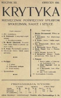 Krytyka : miesięcznik społeczny, naukowy i literacki. R. 12, Cz. 1, z. 4 (1910)