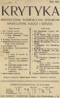 Krytyka : miesięcznik społeczny, naukowy i literacki. R. 12, Cz. 1, z. 5 (1910)