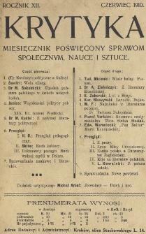 Krytyka : miesięcznik społeczny, naukowy i literacki. R. 12, Cz. 1, z. 6 (1910)
