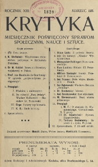 Krytyka : miesięcznik społeczny, naukowy i literacki. R. 13, z. 3 (1911)