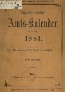 Niederösterreichischer Amtskalender für das Jahr 1881: mit Benützung amtlicher Quellen zusammengestellt